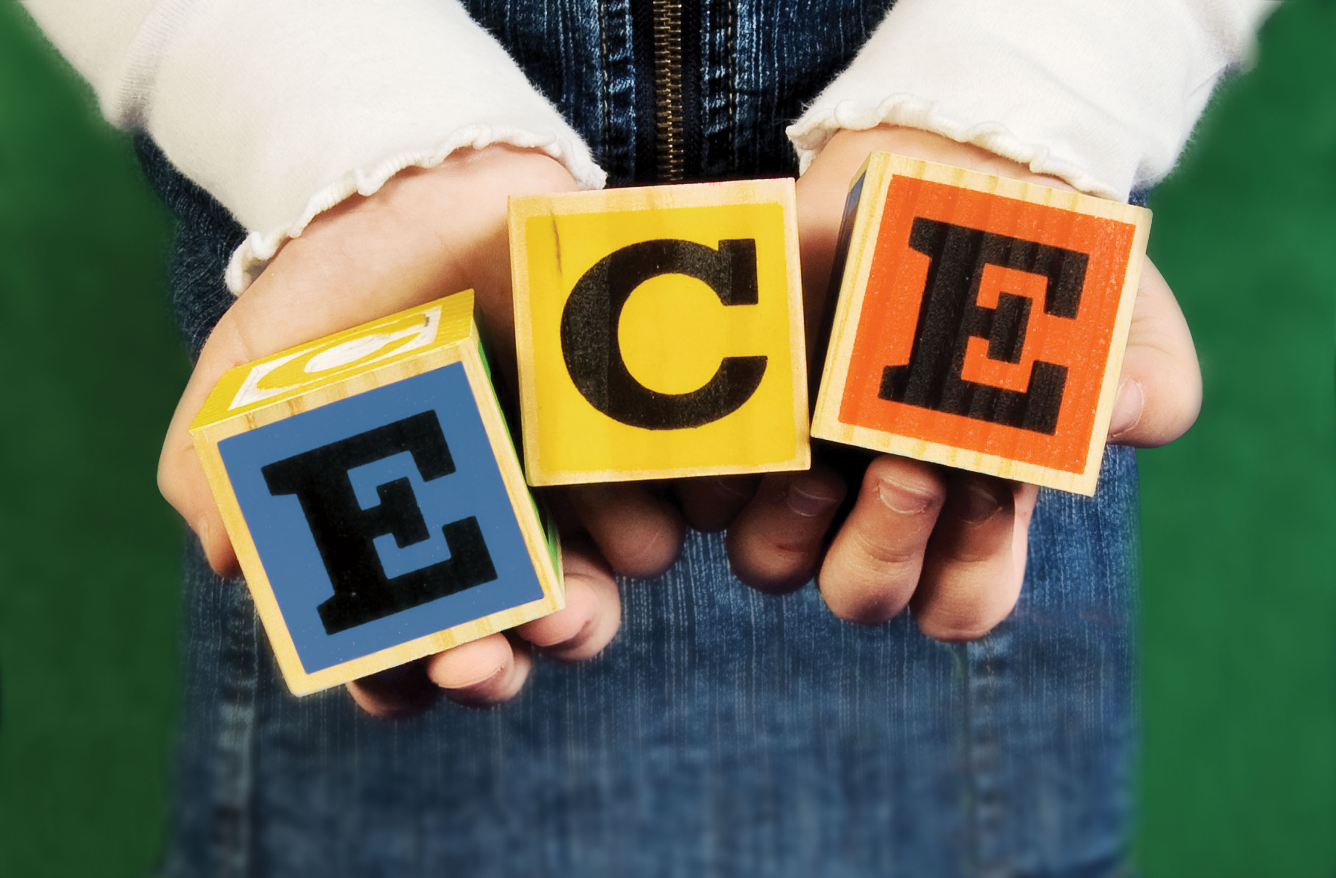 Image of toy letter blocks spelling out ECE