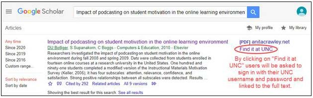 "Screen shot showing ""Find it at UNC"" link in Google Scholar"