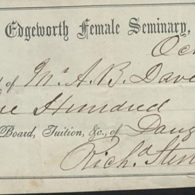 Edgeworth Female Seminary Tuition from Chalmers Collection