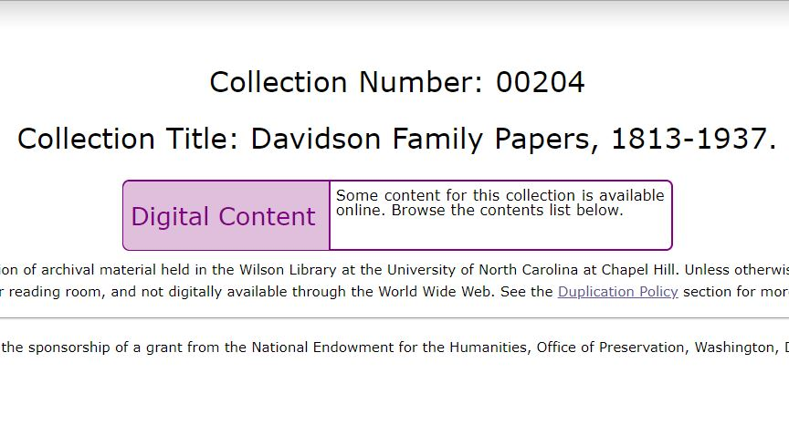 davidson family papers, 1813-1937, UNC Chapel Hill