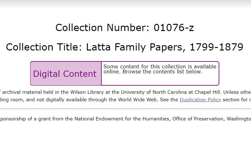 Latta Family Papers, 1799-1879, UNC Chapel Hill