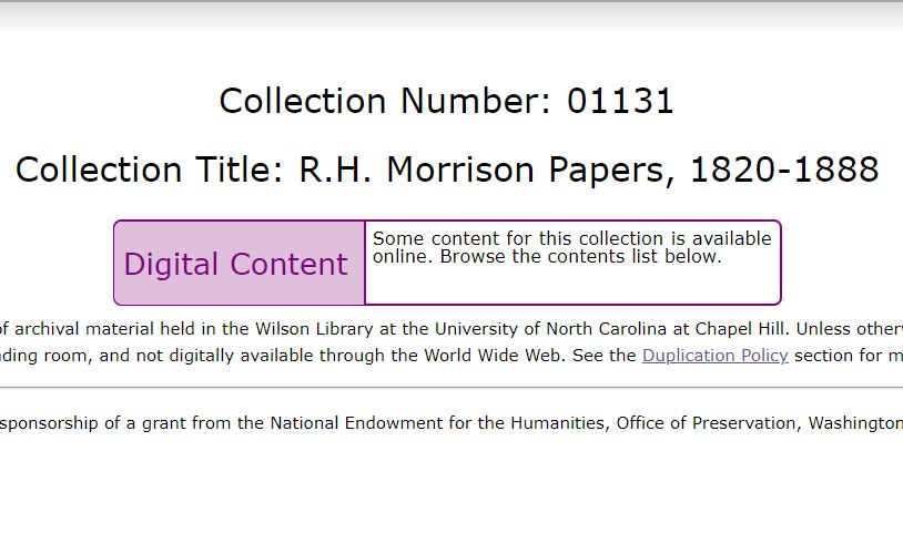 R.H. Morrison Papers, 1820-1888, UNC Chapel Hill