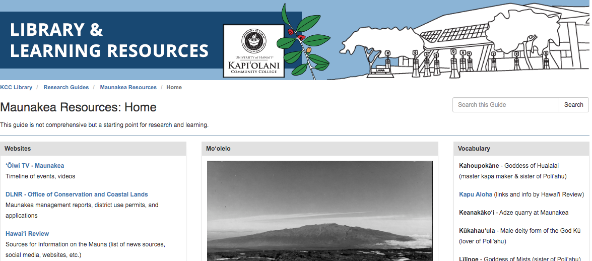 Lama Library's Maunakea Resources guide image