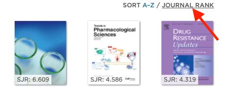 sort journals by rank screenshot