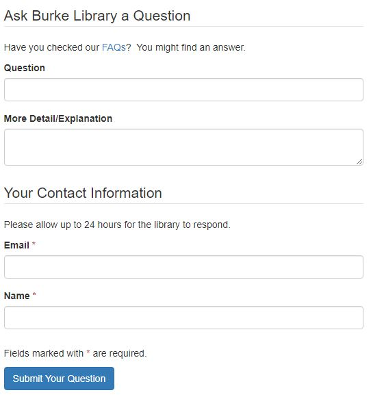 Screenshot of the Ask Burke Question Submission form
