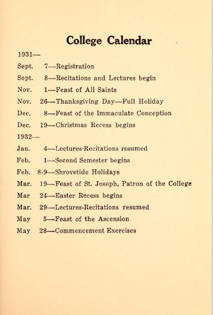 Catalog 1931 Academic Schedule