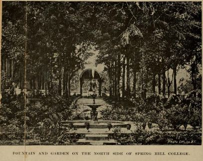 Image of the campus fountain from the 1890-1891 College Catalog