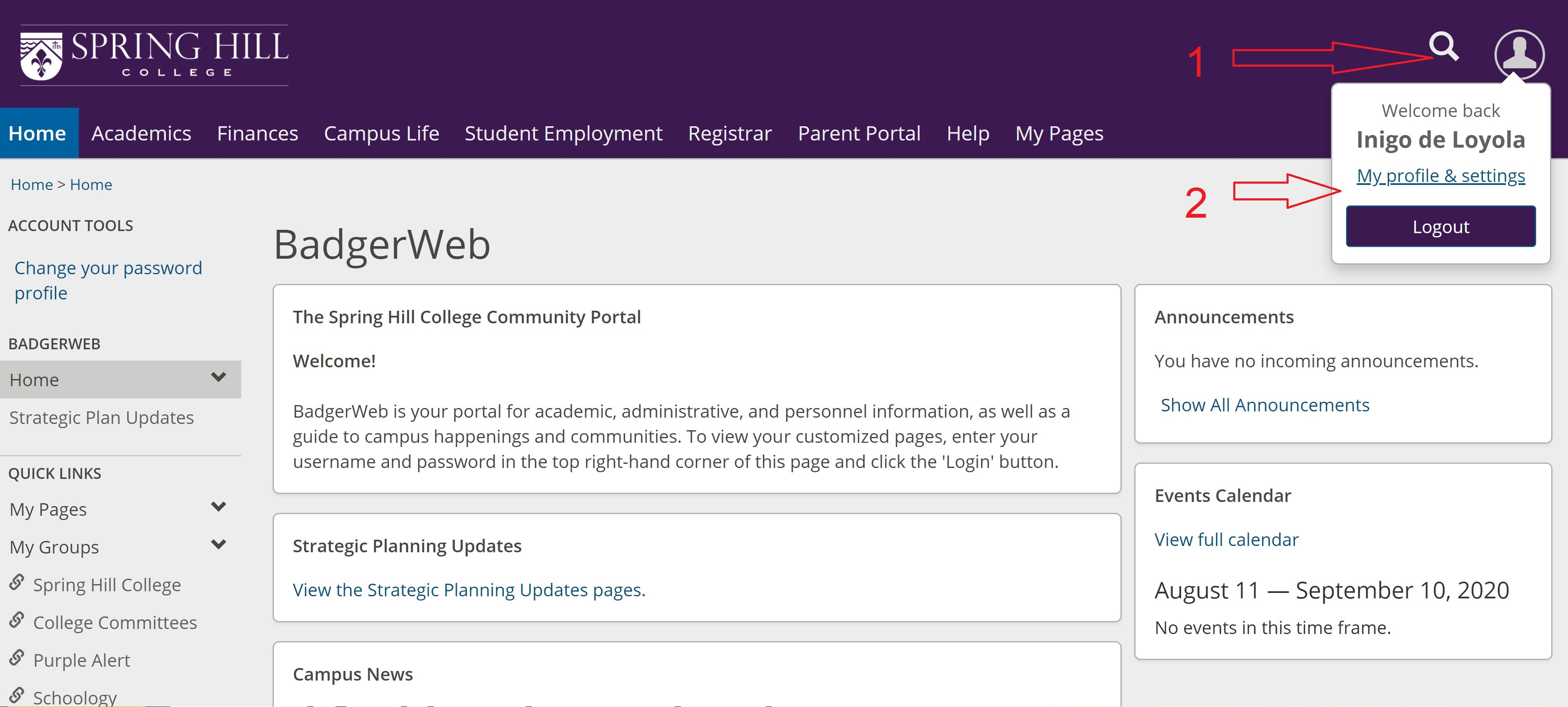 Sample student BadgerWeb welcome screen
