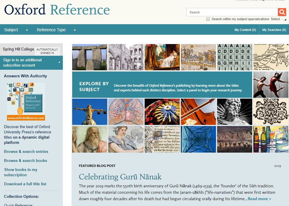 Screenshot of homepage of Oxford Reference with book cover pictures