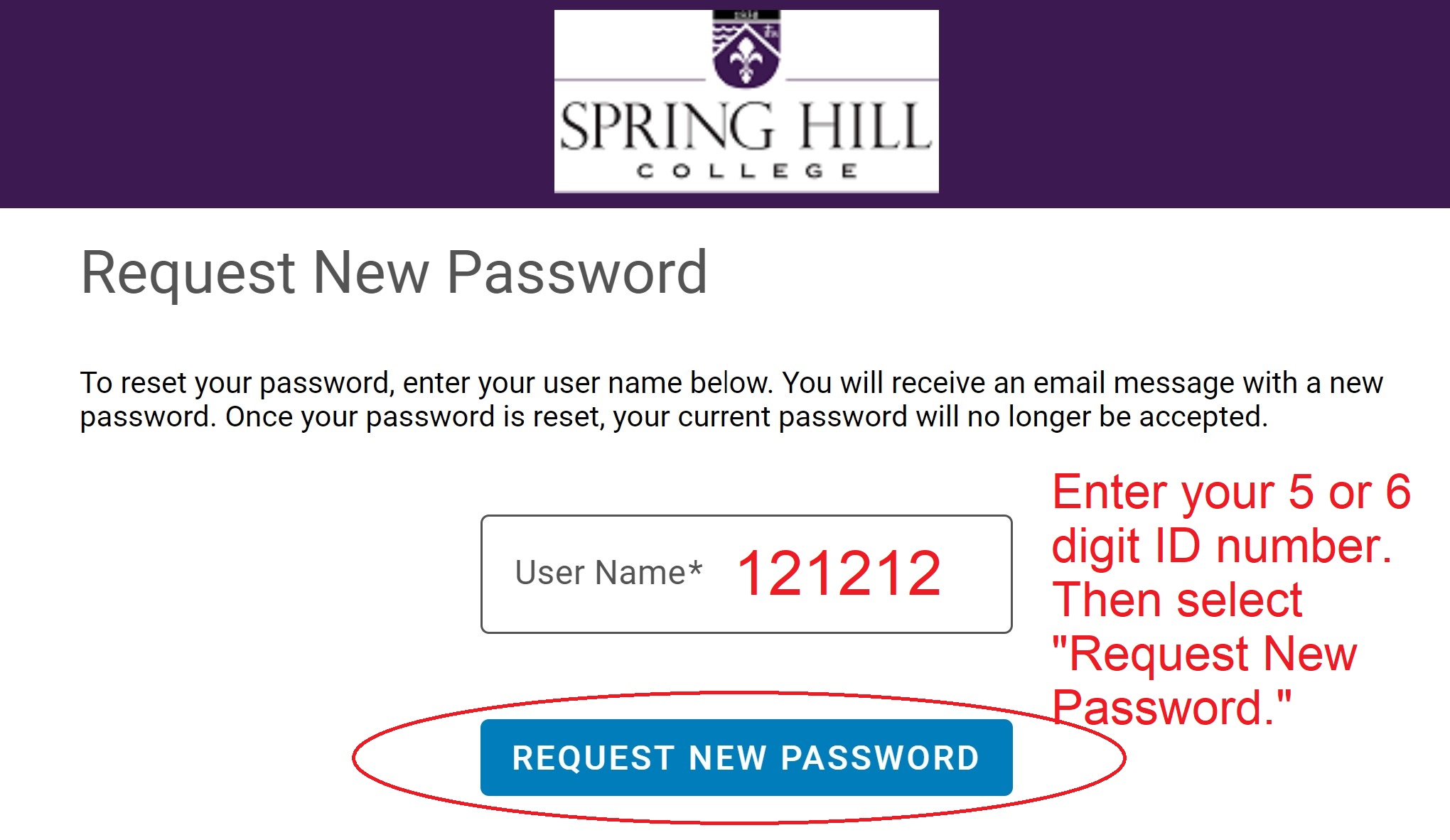 SHC My Account Request New Password Screen