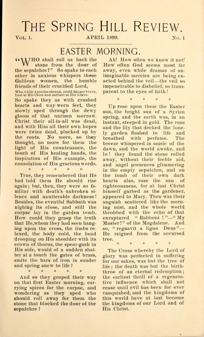 Page of the 1899 Spring Hill review