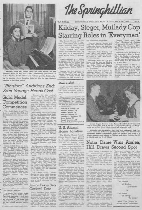 Front page of the Springhillian from March 3 1956