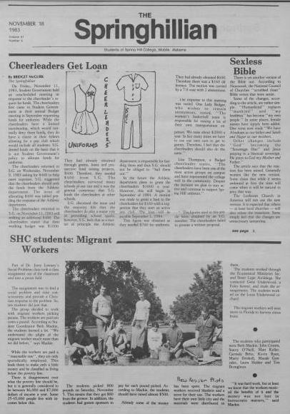 Front page of the Springhillian from November 18 1983