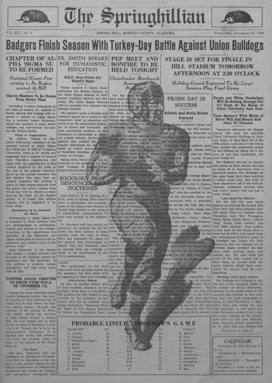 Front page of the Springhillian from November 25 1936