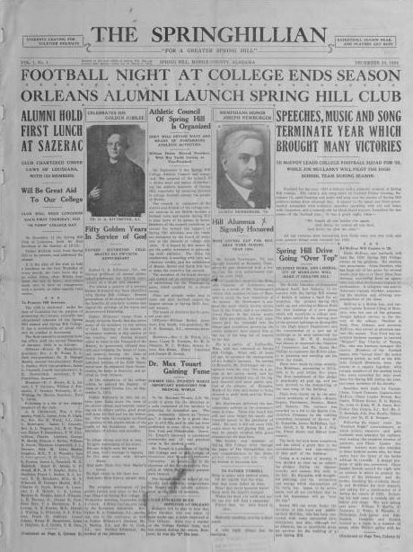 Front page of the Springhillian from December 20 1924