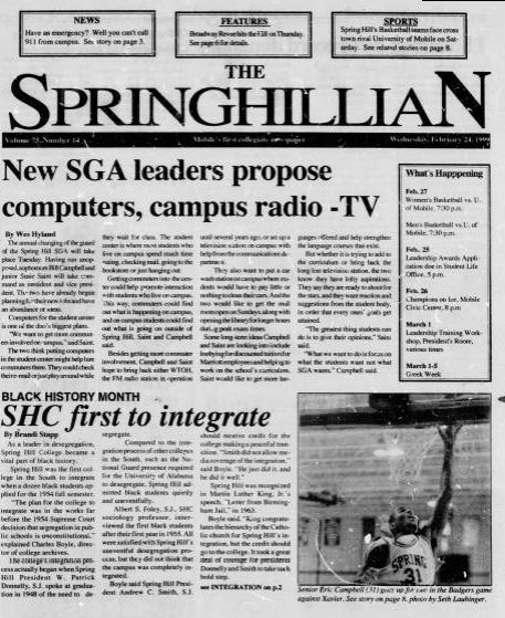 Front page of the Springhillian from February 2 1999