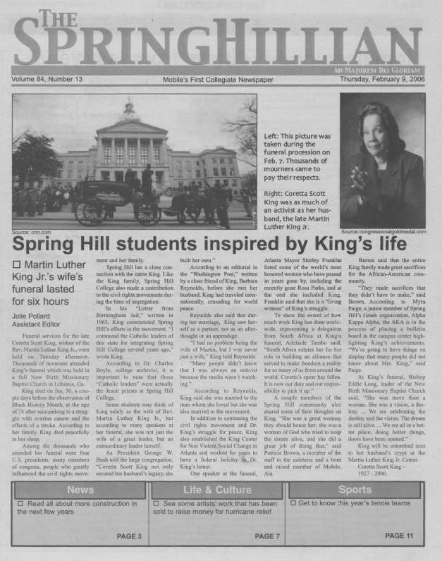 Front page of the Springhillian from February 9 2006