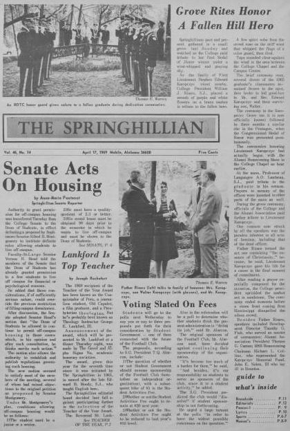 Front page of the Springhillian from April 17 1969