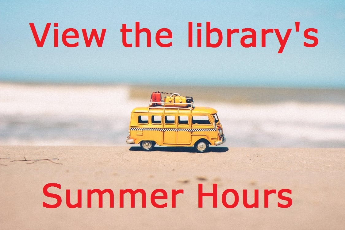 Image of beach with text linking to library's summer hours
