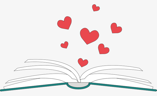 Image of books with hearts floating out of it