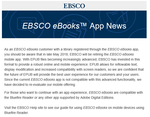 eBook App retirement notice