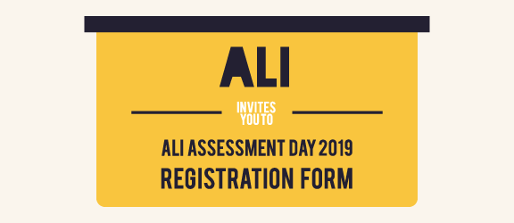 ALI Assessment Day 2019  Registration Banner