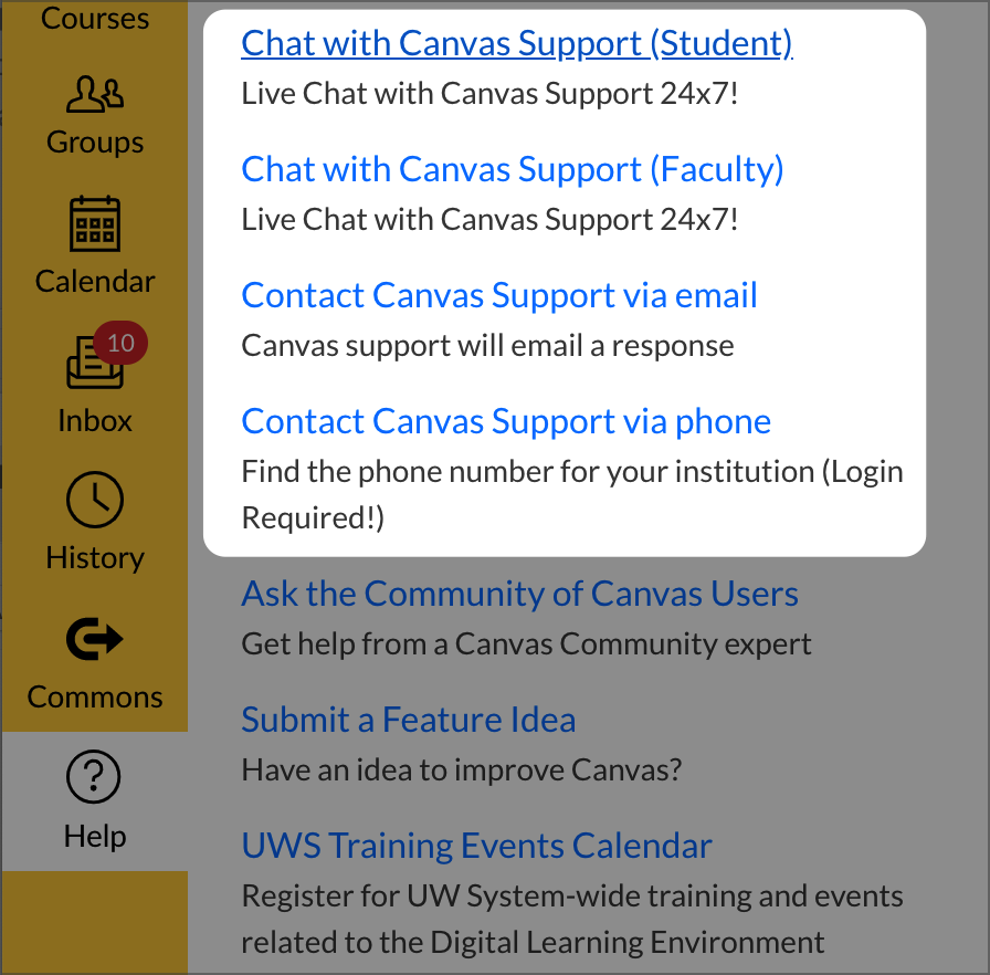 Screenshot Showing Canvas Support Links