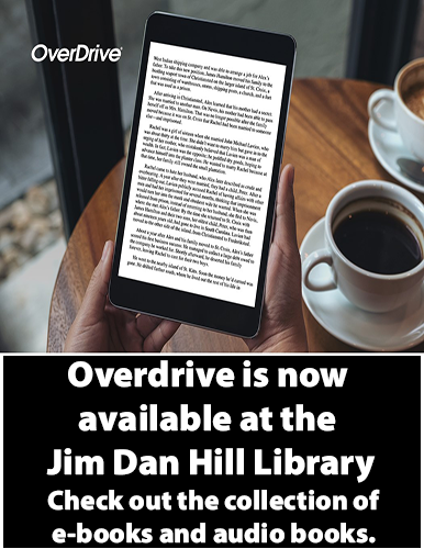Overdrive is now available at the library. Check out the collection of e-books and audio books.