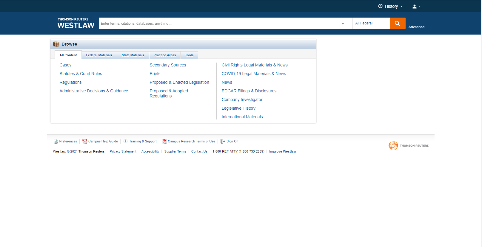 The front page of Westlaw