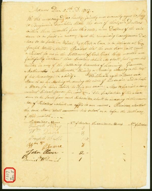 Manuscript: Teacher Contract, 1807