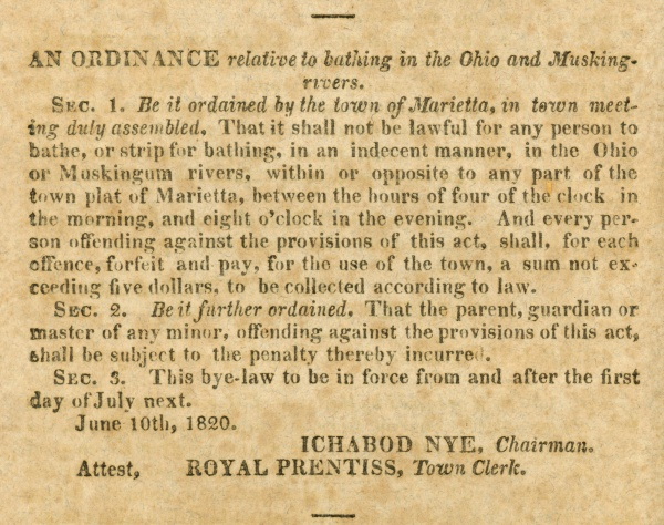 Text: Ordinance Relative to Bathing in the Ohio