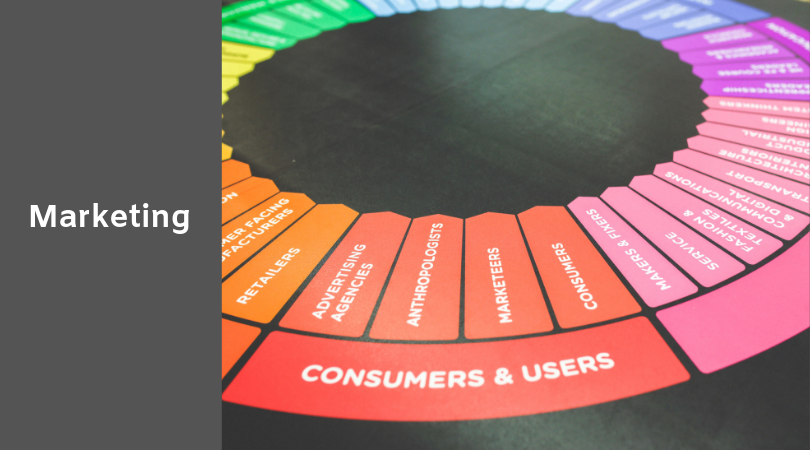 photo of consumer/user marketing strategy wheel