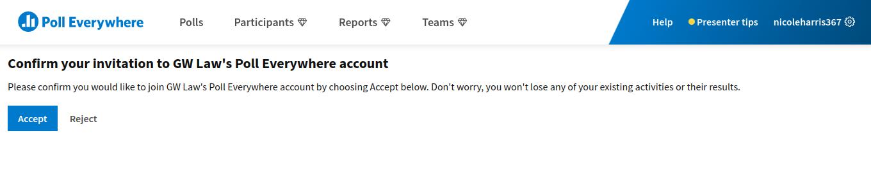 accept invite screen
