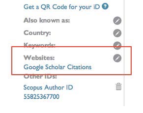 ORCID site left menu highlighting Google Scholar Citations