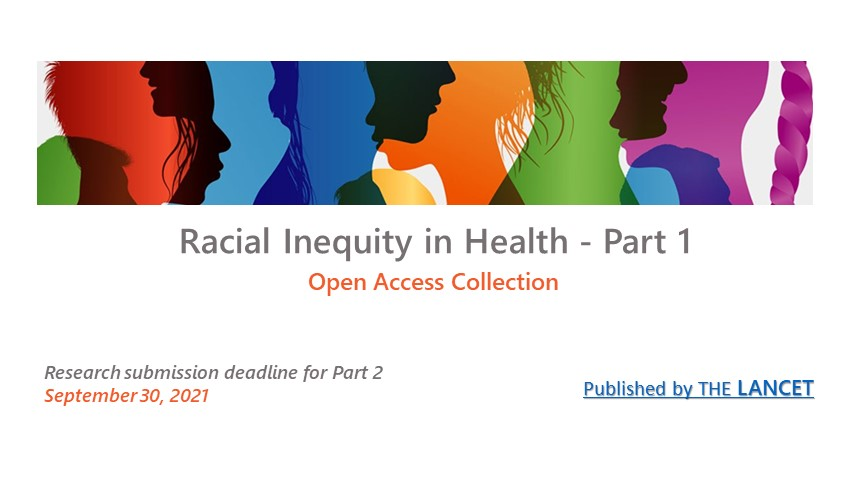 Colorful silhouettes illustration, Lancet Racial Inequality in Health