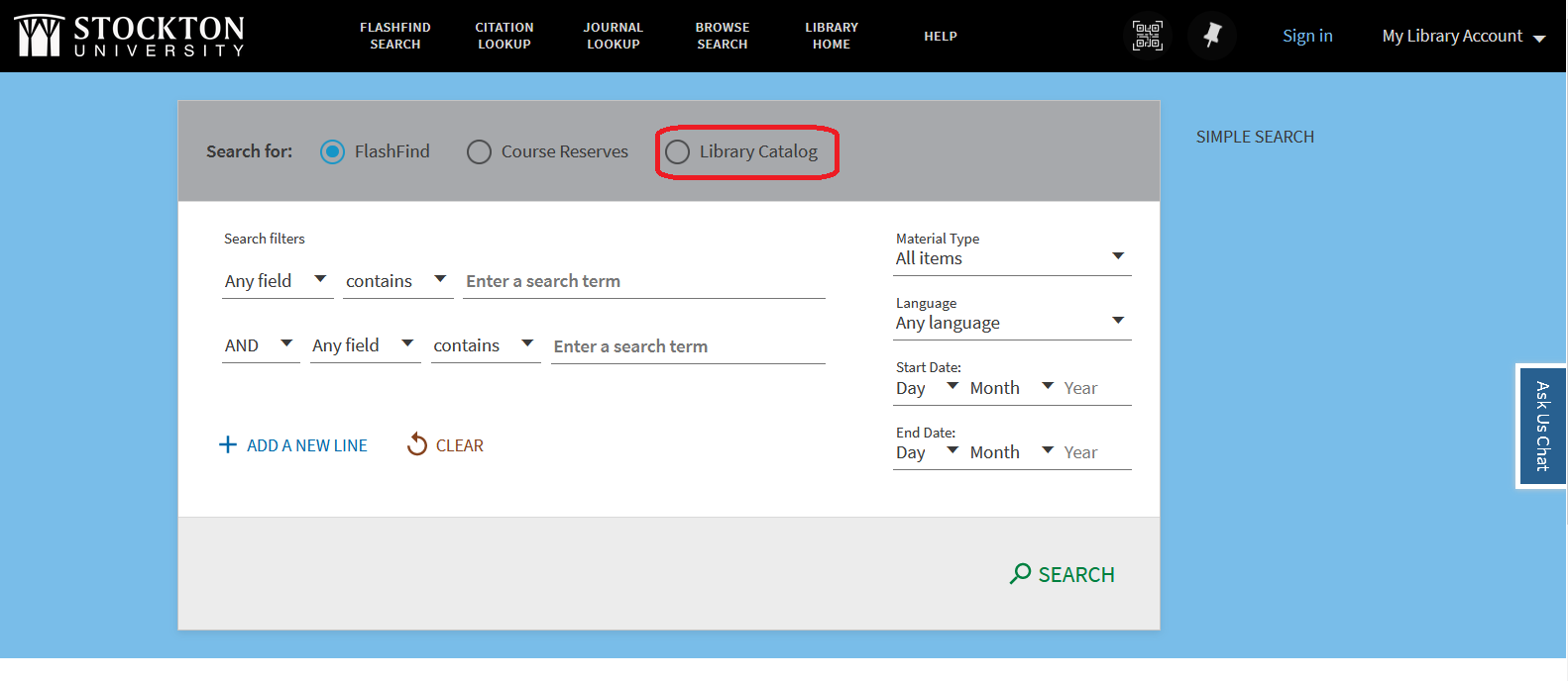 Screen capture highlighting the Library Catalog radio button