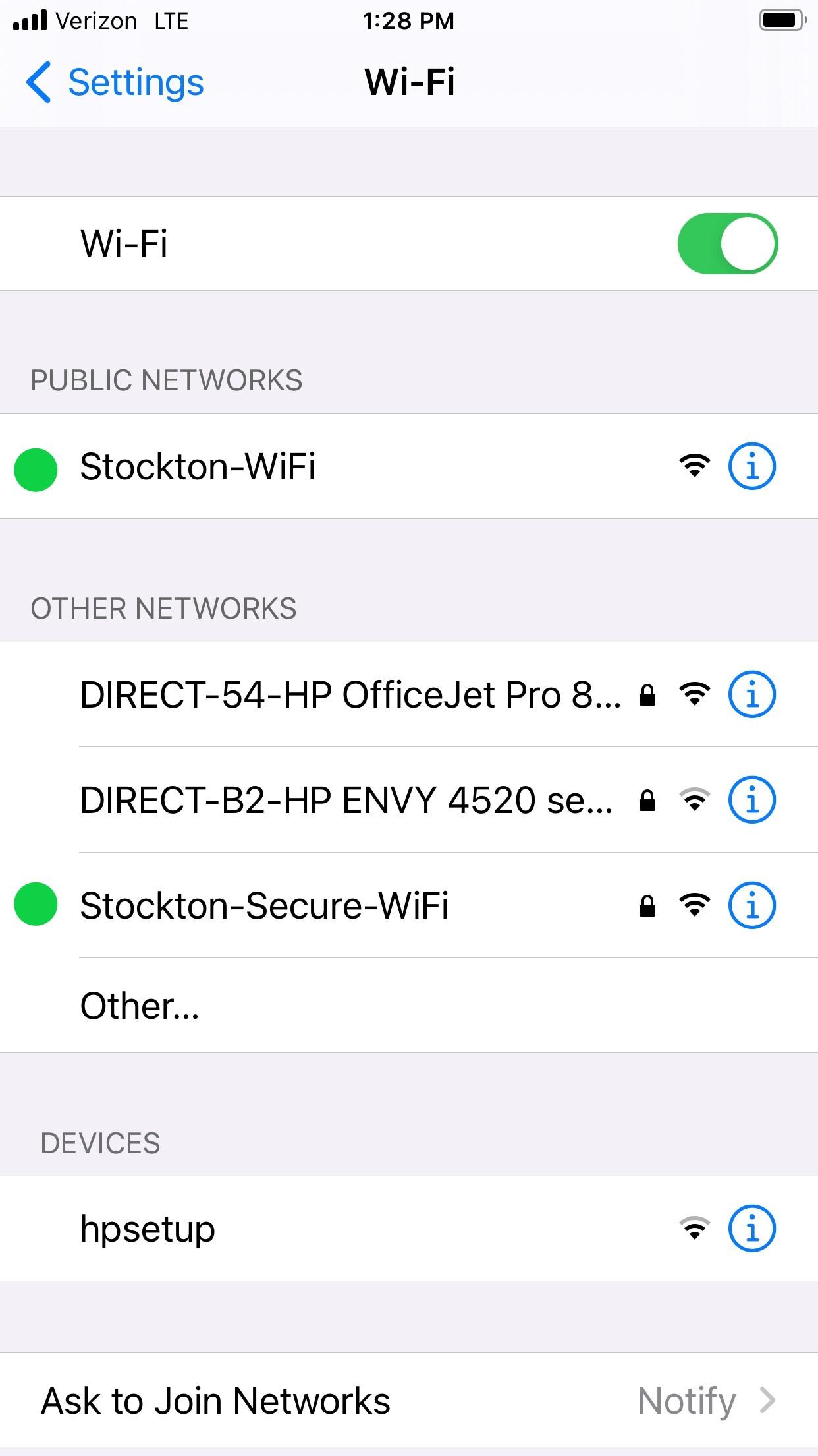 Public: Stockton-WiFI Secure: Stockton-Secure-WiFi