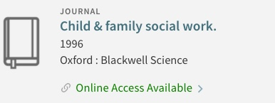 Child & Family Social Work