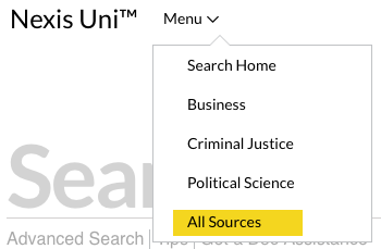 Nexis Uni All Sources Menu