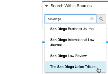 Search for sources in Nexis Uni