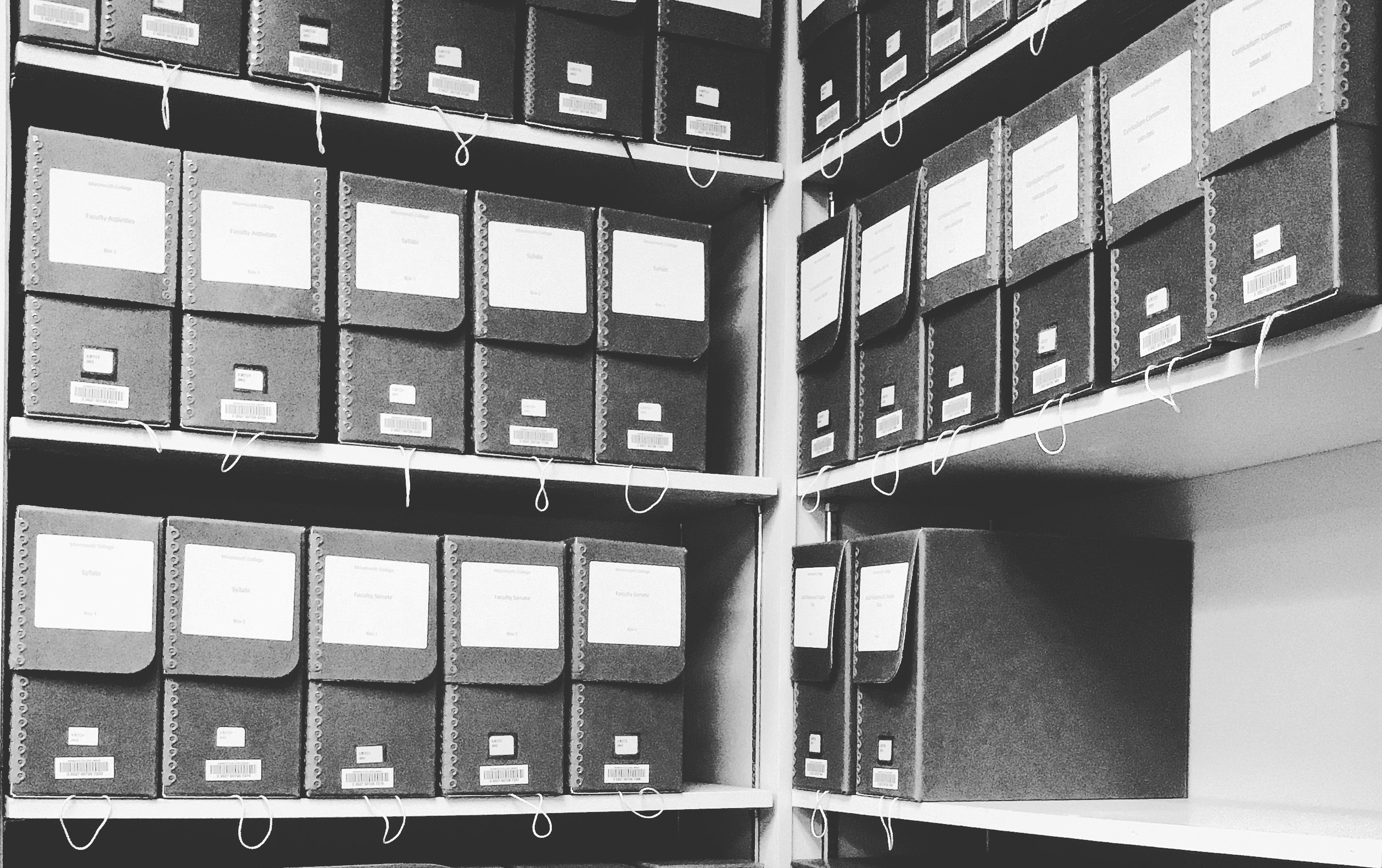 Image of Monmouth College Archives boxes