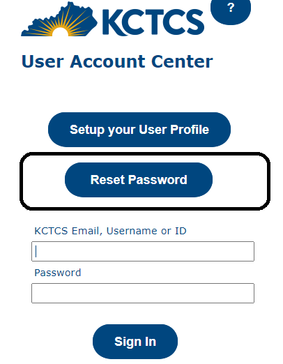 [a screenshot of the user account center homepage with the reset password button highlighted]