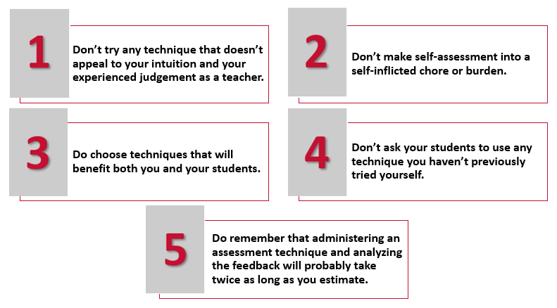 5 guidelines for using assessment