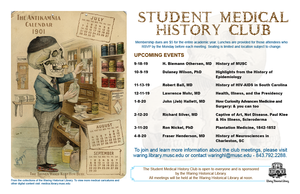 2019-2020 Student Medical History Club Schedule