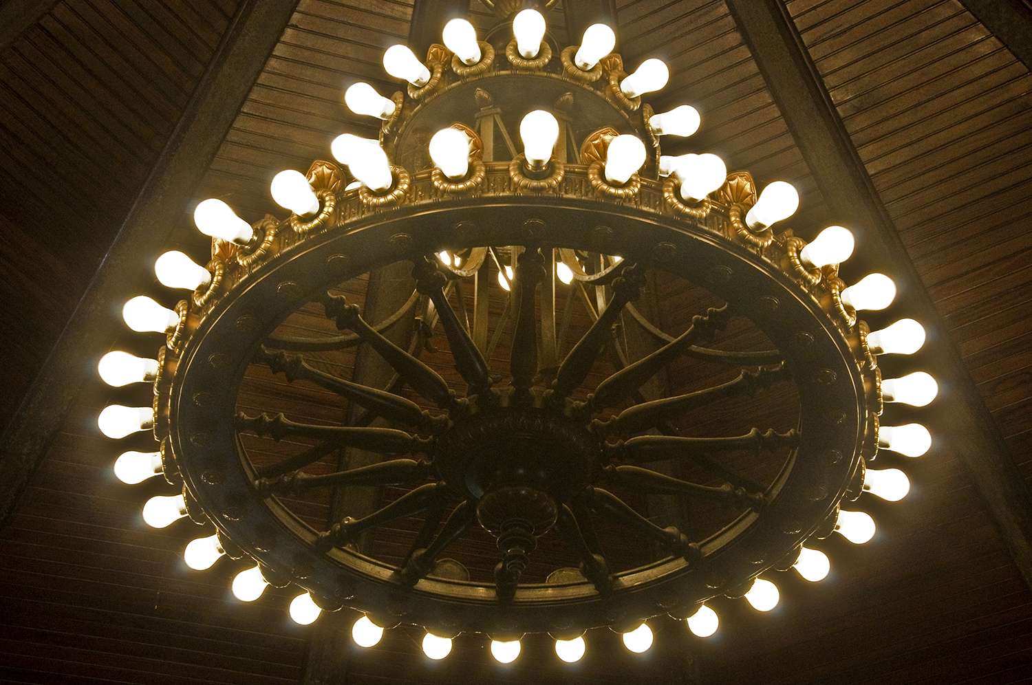 Detail of the second floor chandelier and ceiling