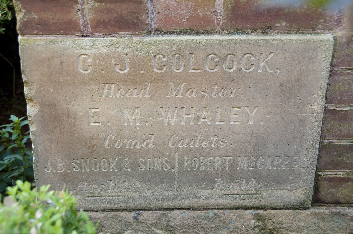Photograph of the Waring's Colcock cornerstone