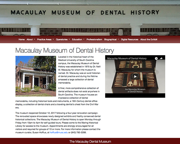 Thumbnail image of Macaulay Museum of Dental History exhibit homepage
