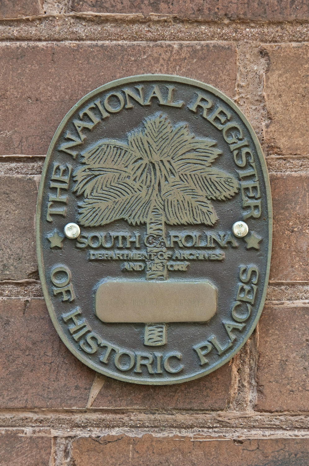Photograph of the Waring's National Register plaque, the Waring Historical Library is on the National Registry of Historic Places