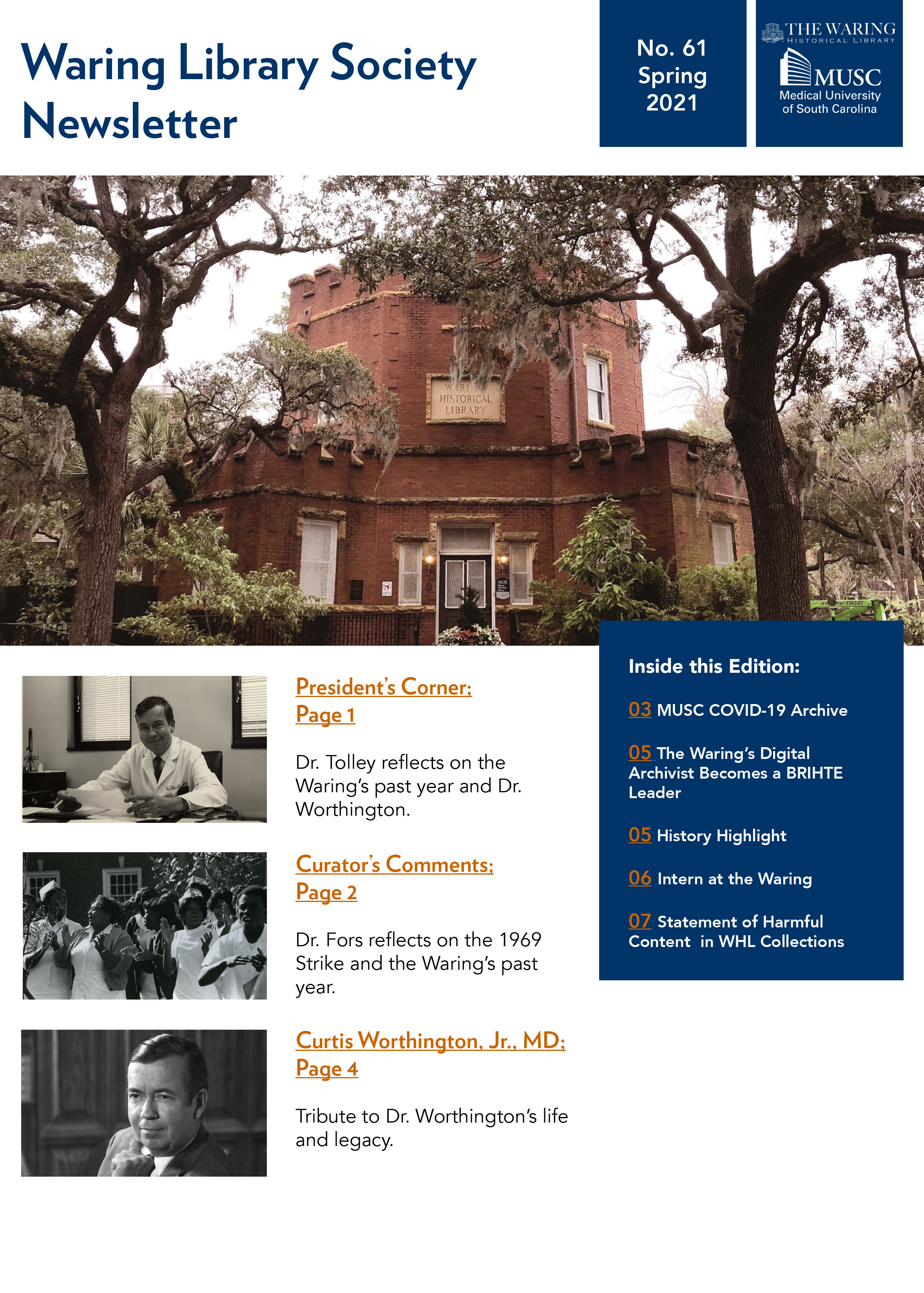 Waring Library Society Fall Newsletter Cover