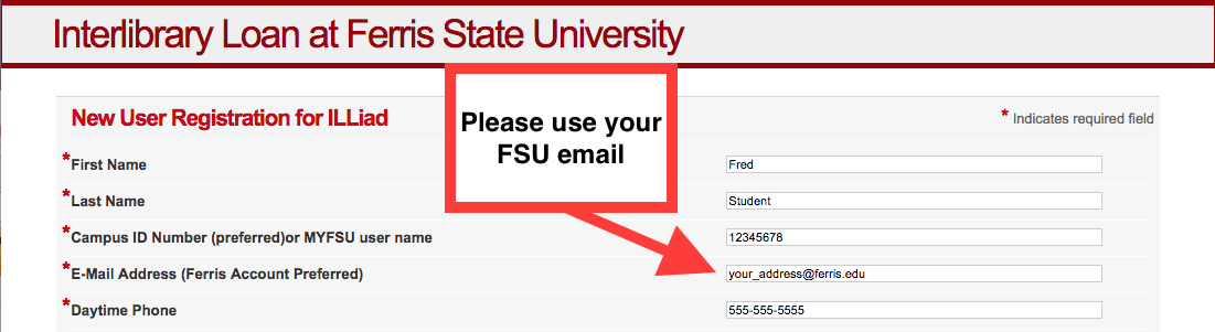 Screenshot of ILL registration with Ferris email